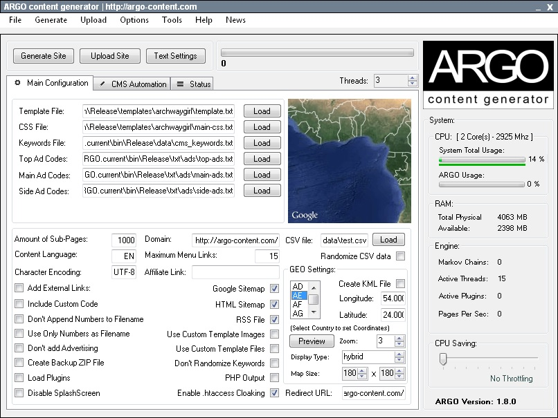 ARGO content DEMO full screenshot